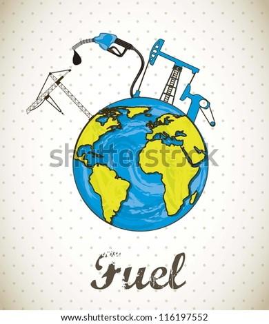 fuel concept with planet, vintage style. vector illustration