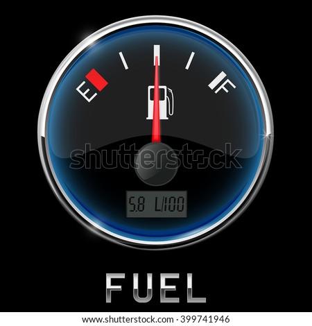 Fuel gauge. Half tank. Vector illustration - stock vector