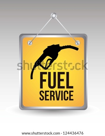 fuel icon over yellow announcement. vector illustration - stock vector