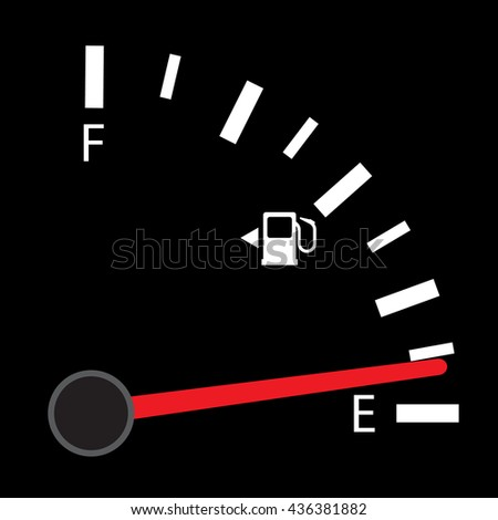 Fuel indicator. Illustration on Black background for design ,Empty Energy