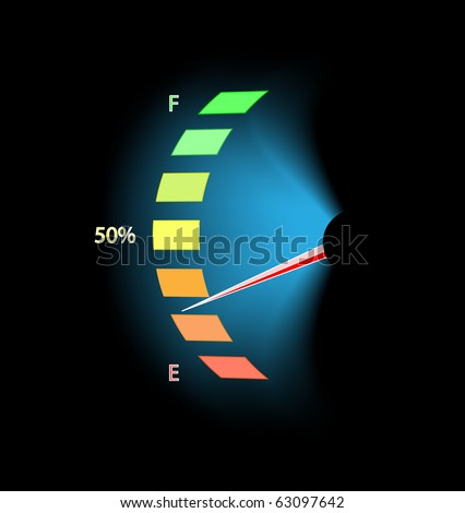Fuel level device on black - stock vector