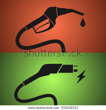 Fuel pump and electric charging icons - stock vector