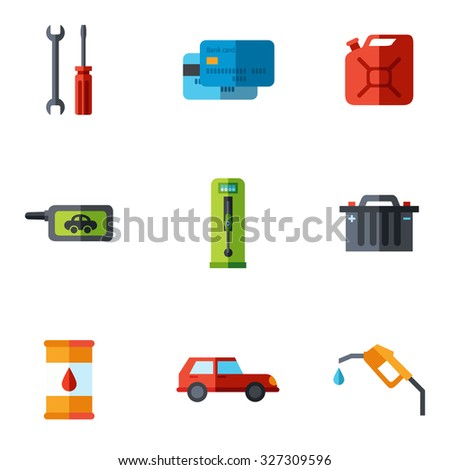 Fuel pump, gas station icons with shadow - stock vector