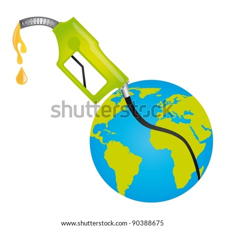 fuel pump with planet over white background. vector