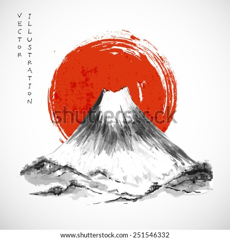 Fujiyama mountain and big red sun on white background. Symbol of Japan. Traditional Japanese style sumi-e. Vector illustration.  - stock vector