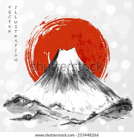 Fujiyama mountain and big red sun on white glowing background.. Symbol of Japan. Traditional Japanese style sumi-e. Vector illustration.  - stock vector