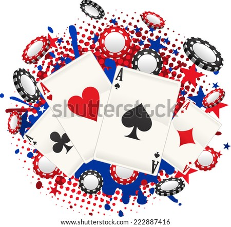 Full Ace Poker, with coins and cards splash vector illustration cartoon. - stock vector