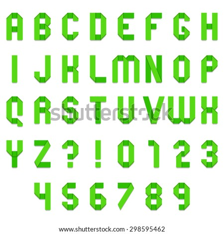 Full alphabet of green folded paper font - stock vector