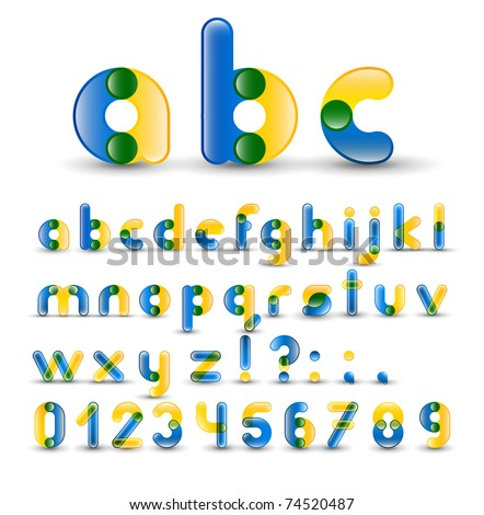 Full Alphabet With Numbers - stock vector
