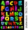 full alphabet with numerals - stock photo