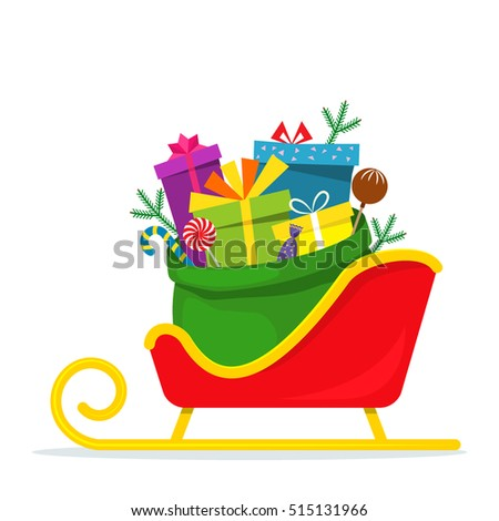 Full bag of gifts from Santa Claus is in the sled. Christmas decorative element. flat vector illustration isolate on a white background. easy to use