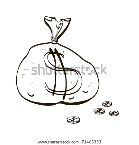 Full bag of money. Children's drawing of the big bag with coins - stock vector