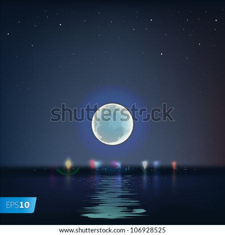 Full blue moon over cold night water, vector Eps10 illustration.