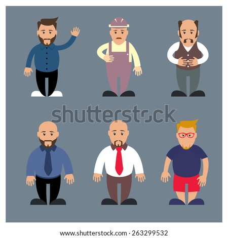 full body group of old people | senior casual cartoon character set. vector illustration - stock vector
