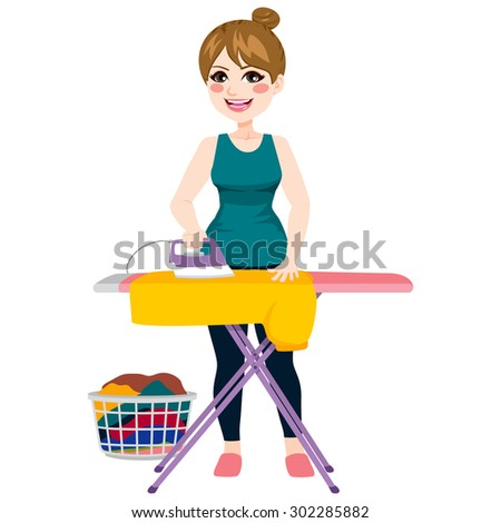 Full body illustration of young beautiful woman ironing yellow shirt on iron board - stock vector