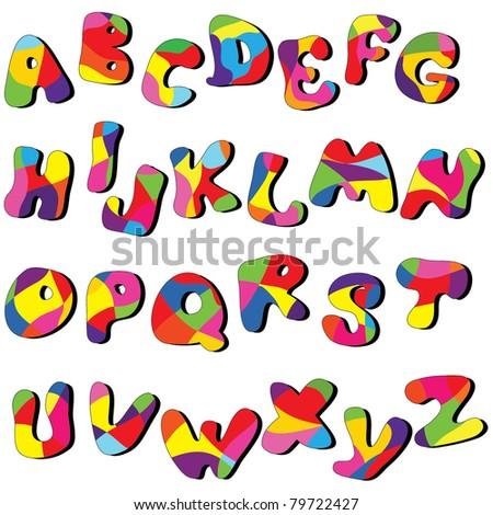 full cartoon alphabet . Vector clip art from A to Z - stock vector