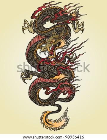 Full Color Asian Dragon Tattoo Illustration - stock vector