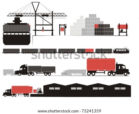 Full container discharge and un-stuffing - Supply chain vector illustration set (Part Three - from full container on board to empty container un-stuffed at the consignee's warehouse) - stock vector