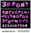 full 3d vector alphabet with numerals - stock vector