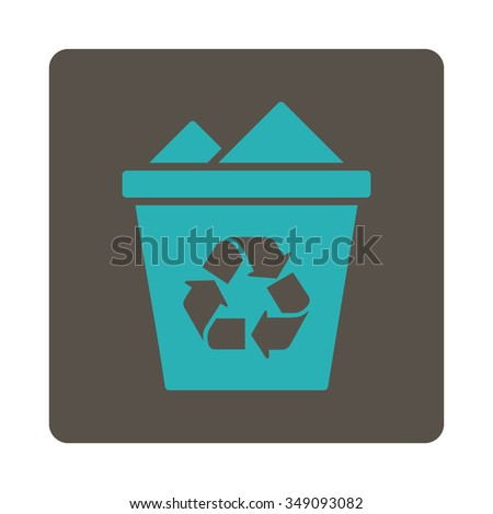Full Dustbin vector icon. Style is flat rounded square button, cyan and grey colors, white background.