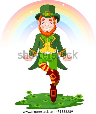 Full length drawing of a leprechaun dancing a jig for St. Patrick's Day - stock vector