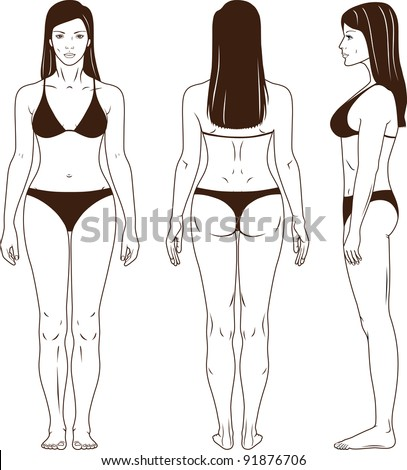 Full length front, back, side view of a standing woman in swimsuit. You can use this image for fashion design and etc.
