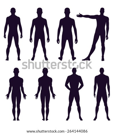 Full length front, back silhouette of man vector illustration, isolated on white  - stock vector
