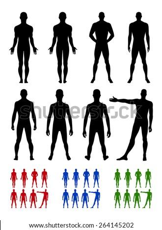 Full length front, back silhouette of man vector illustration, isolated on white - stock vector