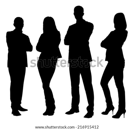 Full length of silhouette business people standing with arms crossed against white background. Vector image - stock vector