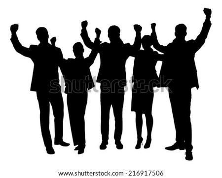Full length of silhouette business people with arms raised standing against white background. Vector image - stock vector