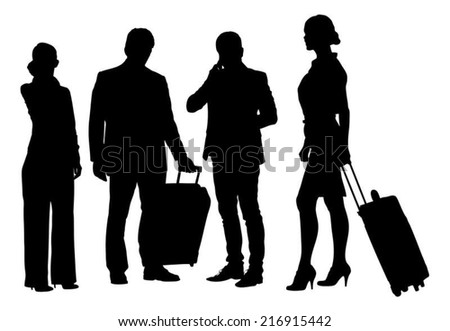 Full length of silhouette business people with luggage standing against white background. Vector image - stock vector