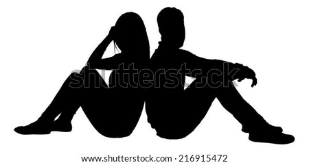 Full length of silhouette couple sitting back to back isolated over white background. Vector image