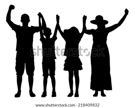 Full length of silhouette family with arms raised isolated over white background. Vector image