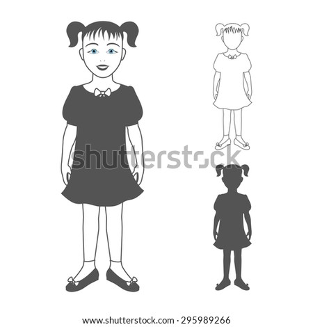 Full length portrait of a small girl, standing and smiling, isolated on white background. Vector illustration.   - stock vector