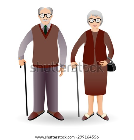 Full length portrait of an handsome old man standing with cane and nice old woman standing with cane. Family.Grandfather and grandmother. Realistic image. - stock vector