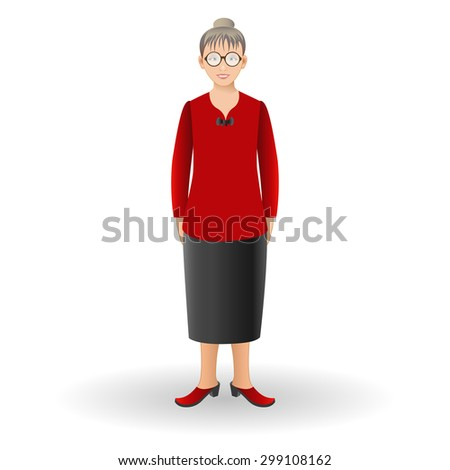 Full length portrait of nice adult woman standing.  Realistic image. Vector illustration.   - stock vector