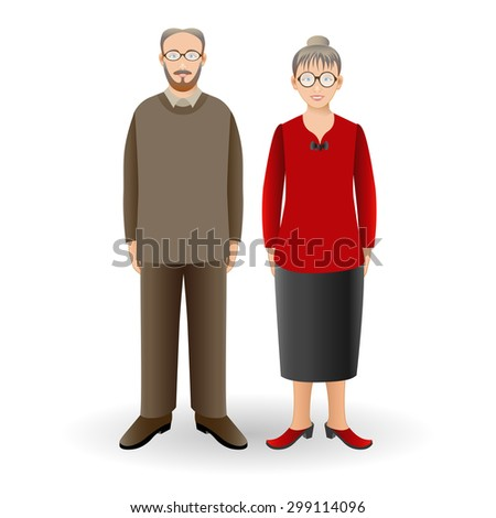 Full length portrait of nice adult woman standing with handsome senior man. Family. Realistic image. Vector illustration. Full body woman and man isolated on white background. - stock vector