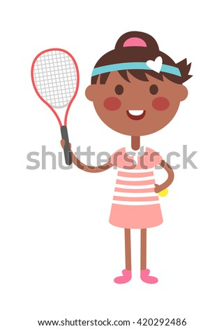Full length portrait of young woman playing tennis field. Healthy lifestyle tennis player girl isolated and tennis player young girl. Tennis player girl character and sport tennis player girl. - stock vector