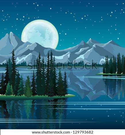 Full moon and group of pine trees reflected in calm still water with mountains on a night starry sky - stock vector