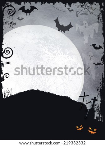 Full moon background with ghosts, bats, crosses, pumpkins and a big full moon. A creepy backdrop just perfect for any Halloween design. - stock vector