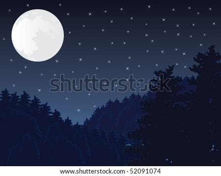 Full moon night scene vector - stock vector