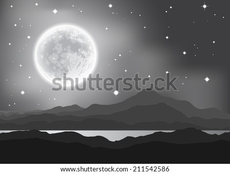 Full Moon over mountains and lake. Night landscape. Elements of this image furnished by NASA. Vector illustration. - stock vector