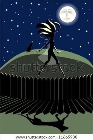 full Moon / sleepwalking / werewolf / dream - stock vector