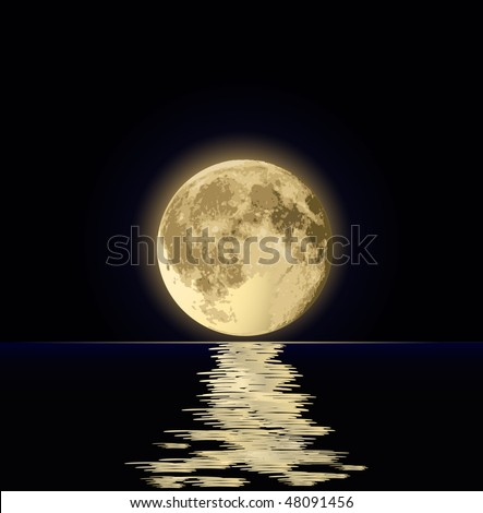 full moon under water - stock vector