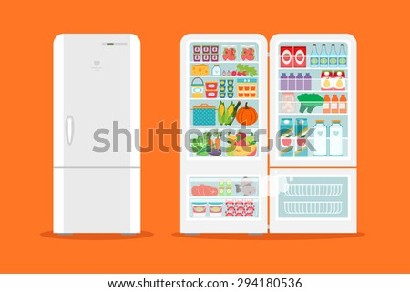 Full of food opened refrigerator. Fridge and fruit, freezer and vegetable. Vector illustration - stock vector