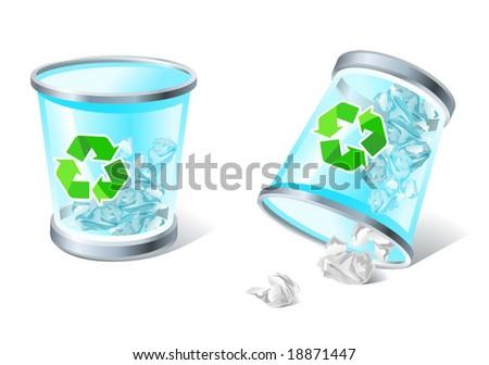 full & overturned trash basket icons - stock vector
