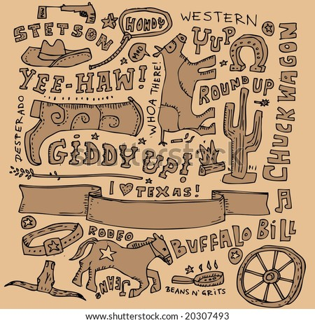 Full page of doodle on a far-west theme.