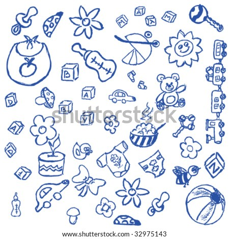 Full page of fun hand draw doodles on a baby theme - stock vector