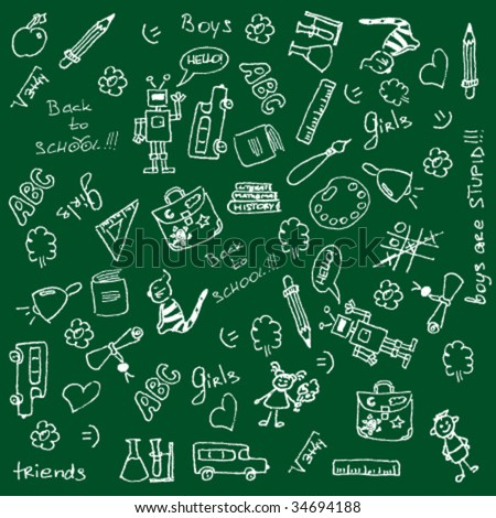 Full page of fun hand-drawn doodles on a school theme. For more doodles visit my portfolio. - stock vector