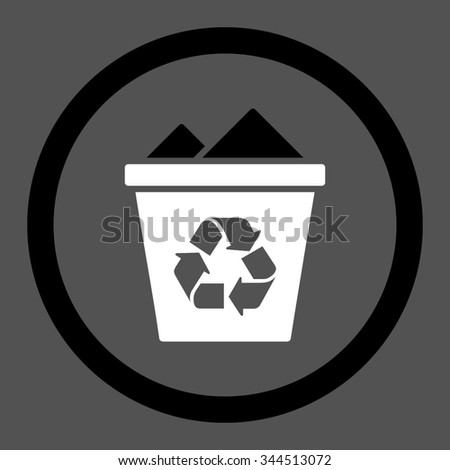 Full Recycle Bin vector icon. Style is bicolor flat rounded symbol, black and white colors, rounded angles, gray background.